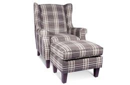Sessel Lounge - Beine Kiefer dunkelbraun - grau - Polyesterbezug – Bild 8