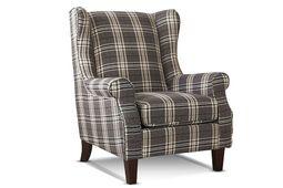Sessel Lounge - Beine Kiefer dunkelbraun - grau - Polyesterbezug – Bild 1