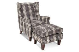 Sessel Lounge - Beine Kiefer dunkelbraun - grau - Polyesterbezug – Bild 2