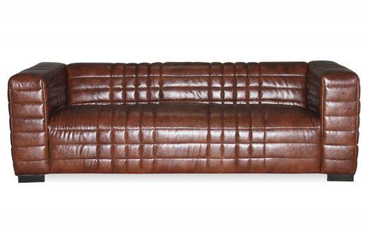 Sofa Lounge - Beine Hevea dunkelbraun - braun - Lederoptik