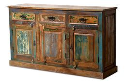 Sideboard Riverhouse - recycletes Altholz - bunt lackiert