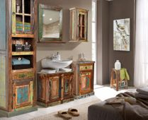 Waschbecken - unterschrank Riverhouse - recycletes Altholz - bunt lackiert – Bild 3