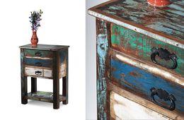 Telefontisch Riverhouse - recycletes Altholz - bunt lackiert – Bild 3