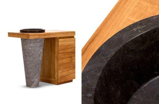 Waschtisch Fresch IV komplett Teak natur massiv Holz Bad Badmöbel Badezimmer Schrank