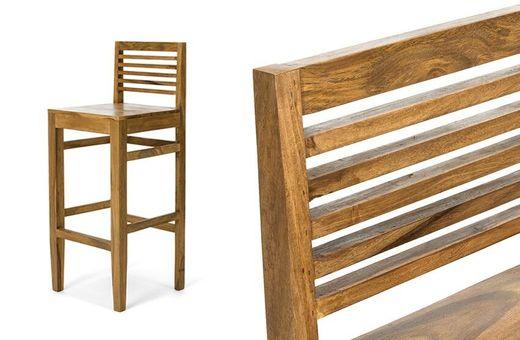 Barstuhl robustus I Palisander massiv Holz honigbraun