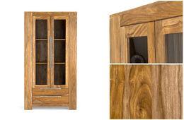 Vitrine 2tür robustus Palisander teak finish massiv Holz honigbraun – Bild 2