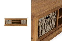 TV-Bank Cordoba1Fach/2Körbe Teak massiv Holz Möbel