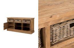 Sideboard Cordoba 3türig/3Körbe Teak massiv Holz Möbel – Bild 2