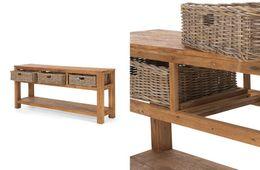 Konsolentisch Cordoba 3Körbe Teak massiv Holz Möbel – Bild 2