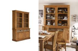 Buffet Cordoba 2Glastüren+2Holztür/2Körbe Teak  massiv Holz Möbel