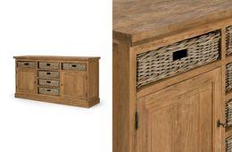 Sideboard Cordoba 2türig/6Körbe Teak massiv Holz Möbel