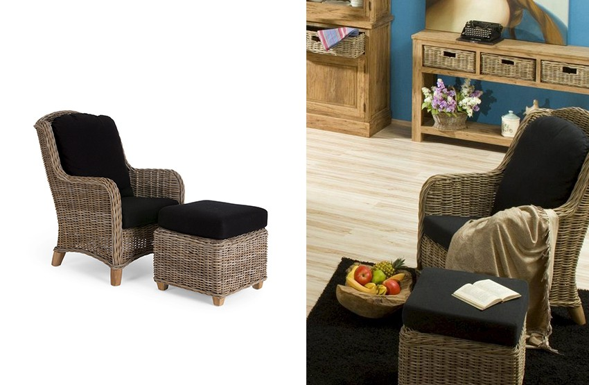 sessel cordoba mit al rattan inkl fusshocker. Black Bedroom Furniture Sets. Home Design Ideas