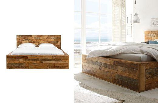 Bett Quadrat 180x200 Palisander Mosaik massiv Holz lackiert Möbel
