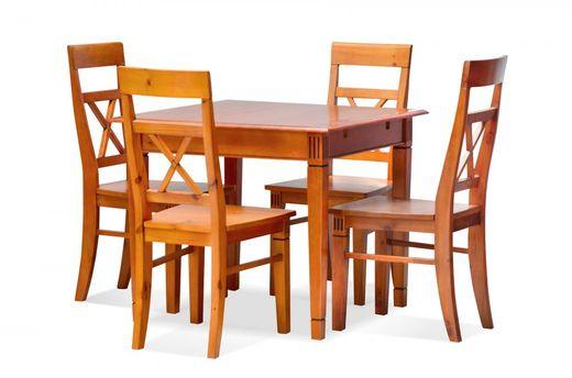 Essgruppe 90 x 90 cm Gotland - Esstisch & 4 Stühle - Pinie massiv - braun - gebeizt & lackiert