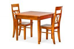 Essgruppe 90 x 90 cm Gotland - Esstisch & 2 Stühle - Pinie teilmassiv - braun - gebeizt & lackiert