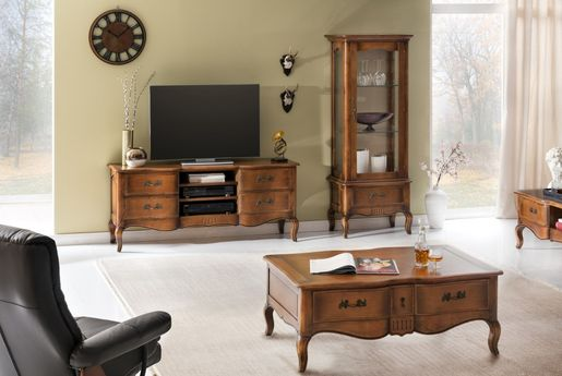 wohnwand vintage 3 teilig birke massiv antik look braun lackiert. Black Bedroom Furniture Sets. Home Design Ideas