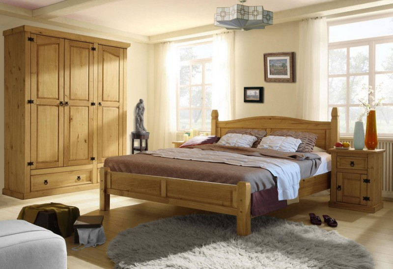 bett merida massivholz pinie landhausstil doppelbett ehebett holzbett. Black Bedroom Furniture Sets. Home Design Ideas