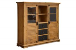 Highboard Country Akazie massiv Holz Möbel Hochschrank Highboard Kommode – Bild 1