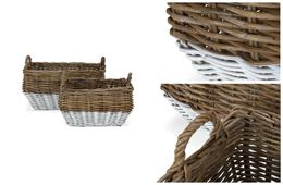 Korb 2er Set Garda Rattan white washed – Bild 3