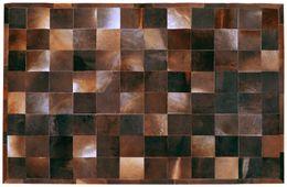 Teppich 170cm x 240cm MIX4HOME gefärbtes Kuhfell braun kariert – Bild 1