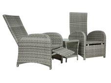 Gartenmöbel 3er Set Maringa Polyrattan & Stoff  Flachgewebe grau – Bild 9