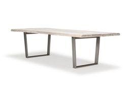 Baumtisch 230cm x 100cm Bauler - Palisander - weiss/grau - lackiert & Metall - Eisen - silver