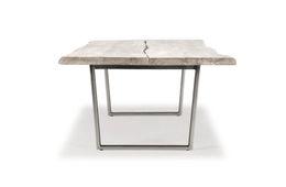 Baumtisch 230cm x 100cm Bauler - Palisander - weiss/grau - lackiert & Metall - Eisen - silver – Bild 2