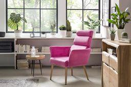 Sessel Komfort pink Gestell Stahl in Holzoptik Bezug Samt – Bild 8