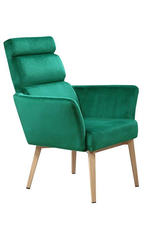 Sessel Grun Komfort Gestell Natur Bezug Samt Stuhl Wohnzimmer