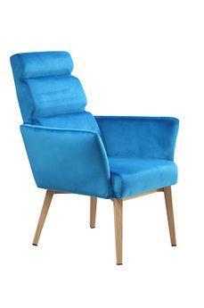 Sessel Komfort blau Gestell Stahl in Holzoptik Bezug Samt