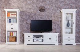 Ausstellungsartikel TV-Unterschrank Olympia groß weiß massive Akazie Holz Moebel lowboard tv schrank – Bild 6