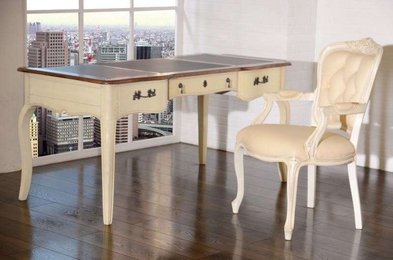 Schreibtisch Vintage Birke Massiv Antik Look Weiss Braun Lackiert