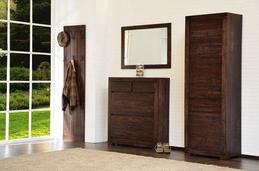 Dielen-Set 4-teilig Tecky  Akazie massiv Holz Moebel Garderobenset Flur Schrank