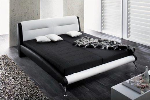 Designer Polsterbett Madrid Doppelbett schwarz/weiss Kunstleder Bett Ehebett