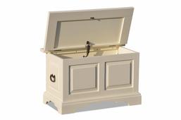 Holztruhe Capri cremeweiß massiv Holz Bank Truhenbank Couchtisch Box Sitz truhe – Bild 3