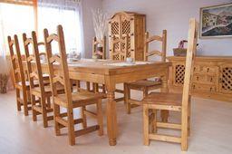Esstisch 200x100 + 6 Stühle Hacienda massiv Holz Essgruppe Esszimmergarnitur