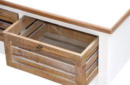 Highboard Burgund massiv Holz Shabby Chic Antik Look Hochschrank Hoch kommode – Bild 6