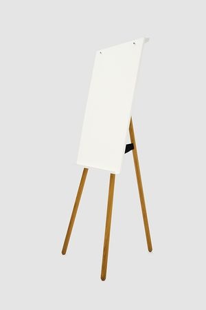 roomours Flipchart Foldable, white, wooden legs oak