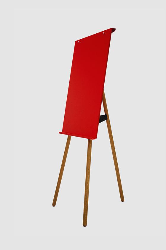 Flipchart Foldable, red, wooden legs oak