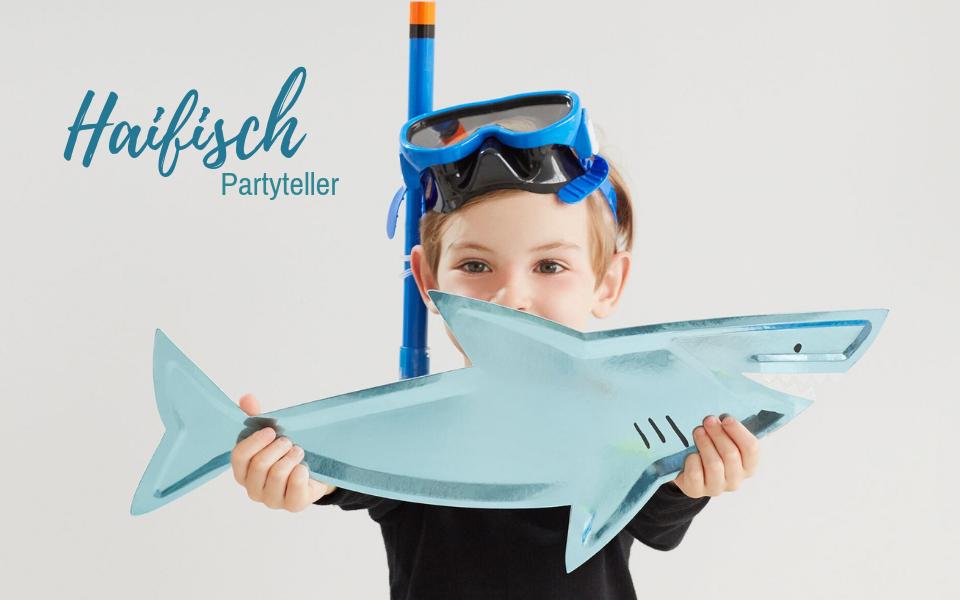 Partyteller Haifisch blau metallic