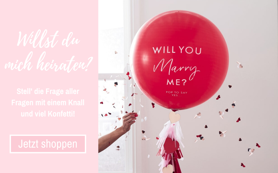 'Will You Marry Me' Konfetti-Ballon Heiratsantrag 90 cm