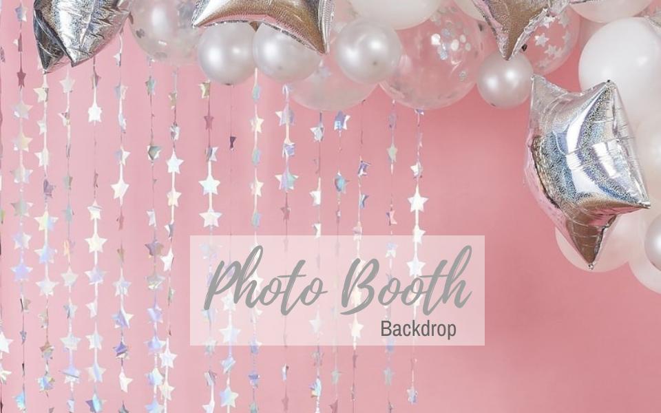 Photo Booth Hintergrund Vorhang Sterne silber irisierend