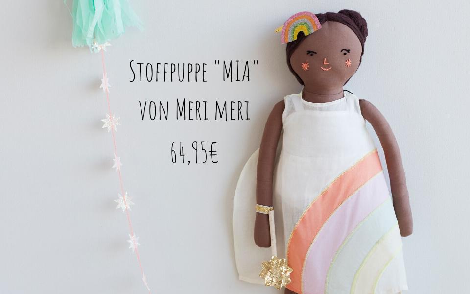 Mia Stoffpuppe weich mit Regenbogenkleid