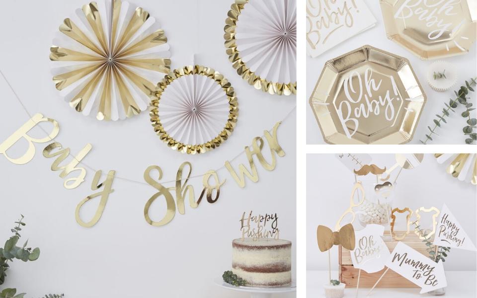 Girlande Schriftzug Baby Shower gold 1,5m