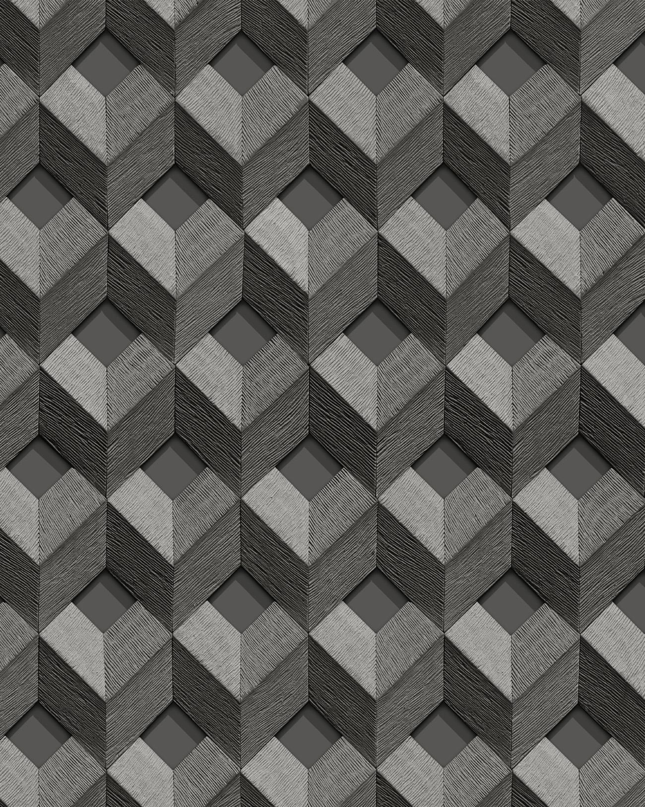 Papier Gaufré À Peindre papier peint 3d profhome de120133-di papier peint intissé gaufré à chaud  gaufré avec un motif de losanges brillant gris anthracite argent 5,33 m2 |