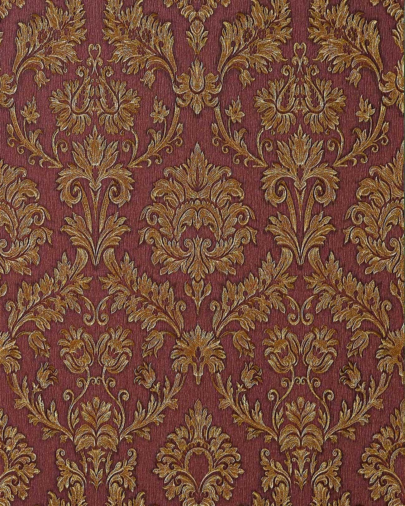 Carta da parati goffrata edem 708 36 barocco damasco in for Carta da parati damascata oro
