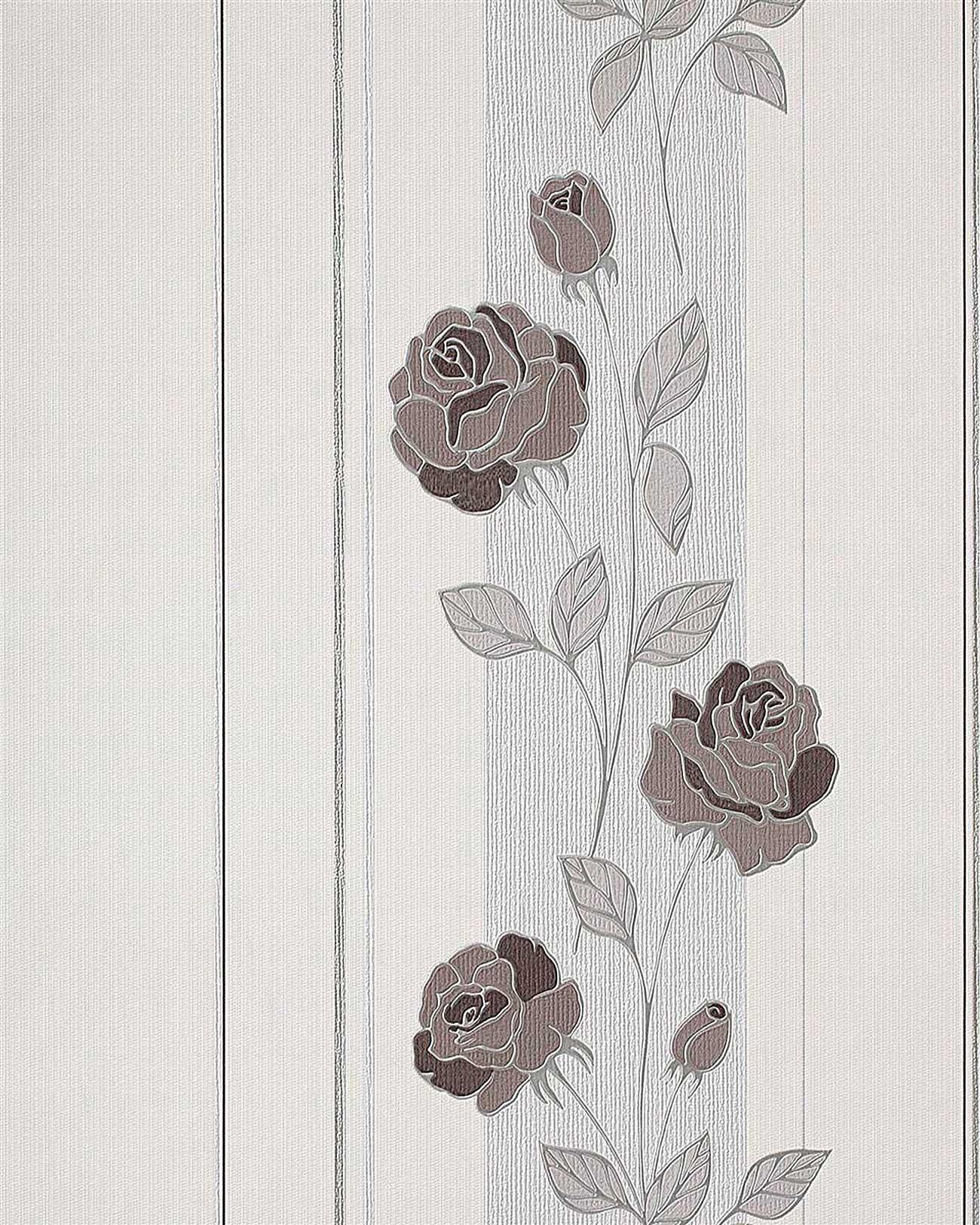 Carta da parati goffrata a fiori rose edem 766 30 in crema for Carta parati argento