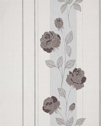 Deluxe heavy-weight stripe wall wallpaper EDEM 766-30 Wallcovering wall flower roses cream brown silver grey  – Bild 1