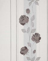 Deluxe heavy-weight stripe wall wallpaper EDEM 766-30 Wallcovering wall flower roses cream brown silver grey  001