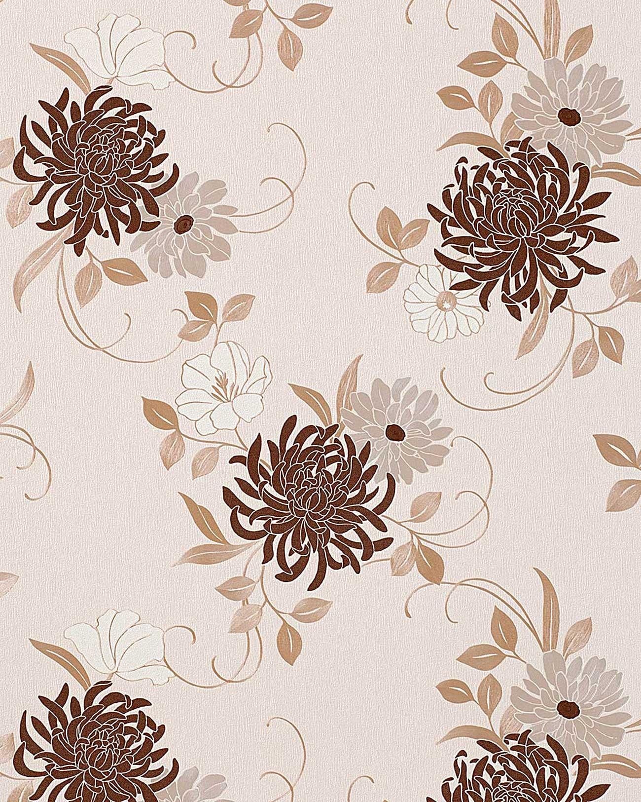 Floral wall wallpaper flower wallcovering edem 824 23 deep for Cream wallpaper for walls